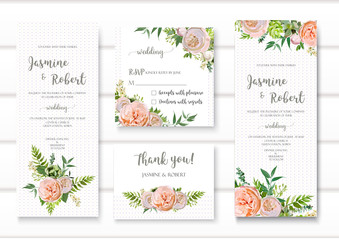 Wedding invitation, floral invite card with pink garden rose green succulent cactus, flowers, seasonal plants mix romantic Templates. Vector anniversary collection. Elegant cute design isolated white.