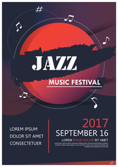 Music party jazz band poster. jazz club fun music. Musical event brochure. Night party invitation from musician.