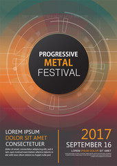Progressive metal festival concert invitation brochure, technology concept poster for music event and stage