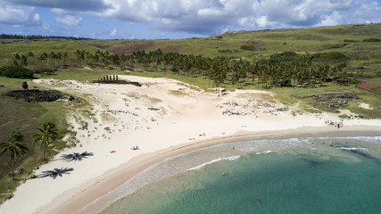 Anakena beach on the Easter Island, Chile