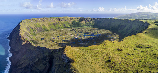 Rano Kau volcano on Easter Island, Chile