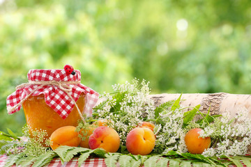 Apricot jam and apricot fruits among forest grasses. Blurred green background. Summer still life.