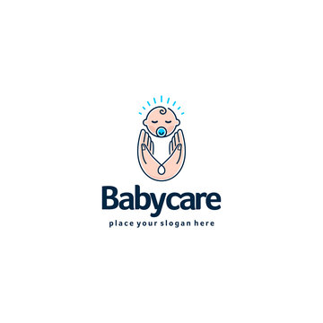 Baby logo. Sleeping baby in mother hands. Care and safety logotype.
