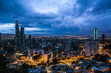 Amazing wallpaper Bogotà city on Night, Colombia, America. Color light