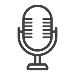 Microphone line icon, studio and sound, vector graphics, a linear pattern on a white background, eps 10.