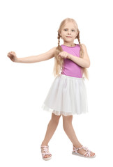 Cute funny girl on white background