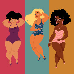 Stylized vector of three women in swimsuits