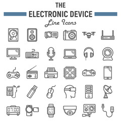 Electronic device line icon set, technology symbols collection, vector sketches, logo illustrations, linear pictograms package isolated on white background, eps 10.
