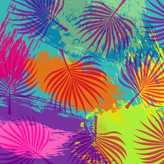 Tropical summer jungle palm tree leaf background