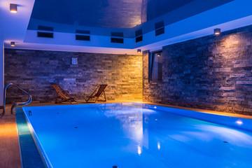 Swimming pool with brick wall