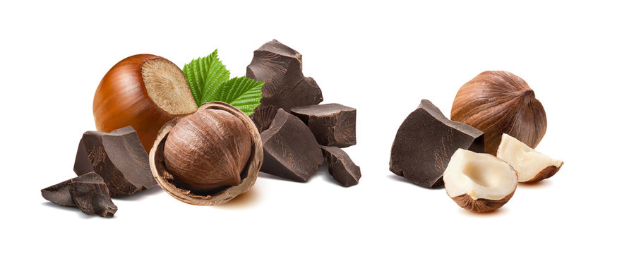 Hazelnut chocolate broken pieces isolated