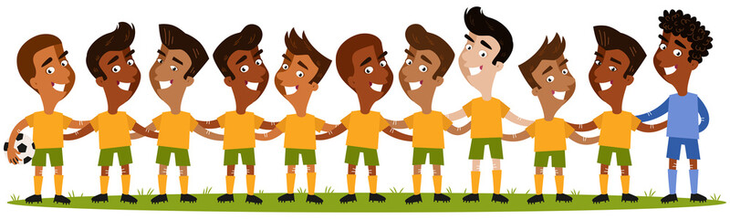 Cartoon illustration of south american men's football team lineup standing on football field isolated on white background