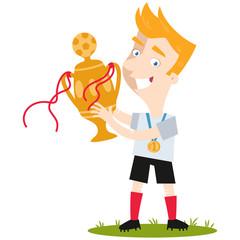 Smiling blond cartoon football player in white shirt celebrating victory holding trophy isolated on white background