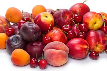 Ripe fruit on white