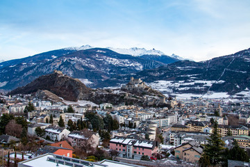 Skyline of the city Sion in Switzerland during winter