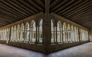 Patio with Gallery of Monastery in saint-Emilion