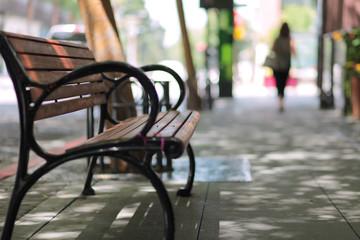 Sidewalk empty bench