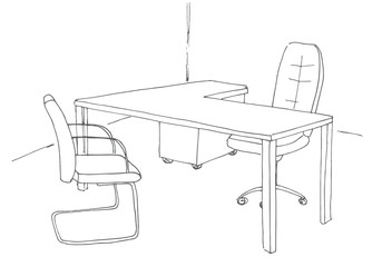 Hand drawn office desk, office chair. Vector illustration.
