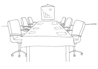 Conference room in a sketch style. Hand drawn office desk, office chair. Vector illustration.
