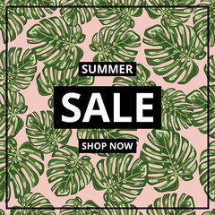 Monstera leaf semaless pattern background with a big SALE