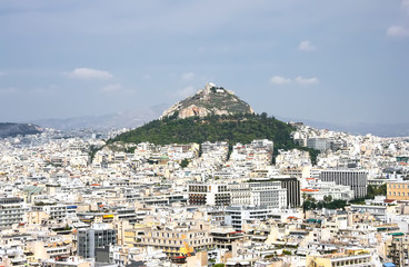 Hill Likavit (Likavitos) or Wolf Mountain in the center of Athens
