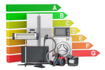 Energy efficiency chart with household appliances. Saving energy consumption concept, 3D rendering