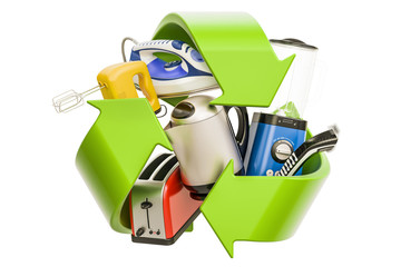 Household appliances with green symbol recycle, 3D rendering