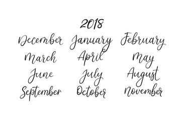 Hand lettering names of months. Modern calligraphy. Handwritten vector calendar
