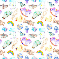 Seamless pattern with baby boy shower watercolor elements (toys, cars, rainbow, nipple, paper boat and other), hand painted isolated on a white background