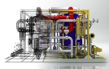 Tubature, riscaldamento, compressori, bim, convettori, rendering 3d