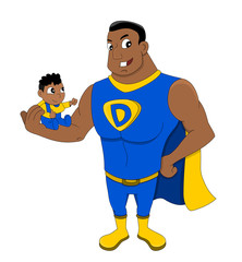 Superdad with a child