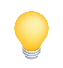 Cute Lightbulb Icon on White Background . Isolated Vector Illustration