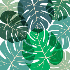 Palm leaves pattern Vector illustration Green summer tropical background with translucent large exotic palm leaves on white background Trendy floral pattern
