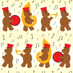 Bear Marching Band Seamless Pattern