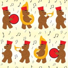 Bear Marching Band Seamless Pattern