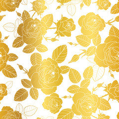Vector gold and white roses and leaves drawing seamless repeat pattern background. Great for subtle, botanical, modern backgrounds, fabric, scrapbooking, packaging, invitations.