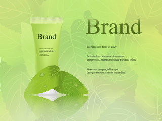 The design of cosmetics, skin cream, light, fresh green background with mint leaves. Advertising, brand, catalogue, banner. 3D vector realistic