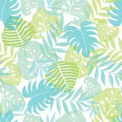 Vector light tropical leaves summer hawaiian seamless pattern with tropical green plants and leaves on navy blue background. Great for vacation themed fabric, wallpaper, packaging.