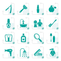 Stylized body care and cosmetics icons - vector icon set