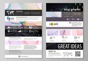 Blog graphic business templates. Page website design template, vector layout. Colorful abstract infographic background in minimalist style made from lines, symbols, charts, other elements.