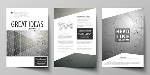 Business templates for brochure, magazine, flyer, booklet. Cover design template, flat layout in A4 size. Chemistry pattern, molecule structure on gray background. Science and technology concept.