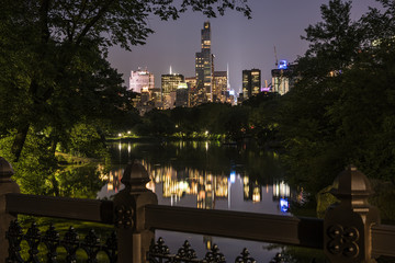 Night cityscape of Manhattan from Oak Bridge in Central Park