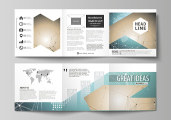 The minimalistic vector illustration of the editable layout. Two modern creative covers design templates for square brochure or flyer. Chemistry pattern with molecule structure. Medical DNA research.