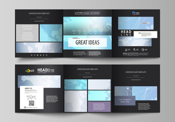 The black colored minimalistic vector illustration of the editable layout. Two creative covers design templates for square brochure. Polygonal texture. Global connections, futuristic geometric concept