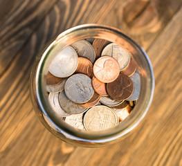 American Dollar Currency Coins in Jar Pennies Nickels Quarters Dimes