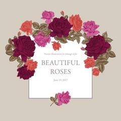 Розы. Векторная иллюстрация в стиле винтаж. Классическая рамка с растительным узором. Ботаника. Элегантная открытка.