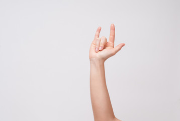 Sign with the hand and fingers