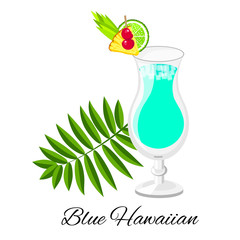 Blue Hawaiian cocktail  isolated on white