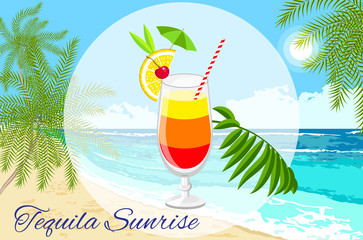 Tequila sunrise  cocktail  on the seaside background