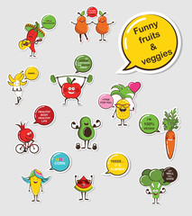 Funny fruit and vegetable face icon vector collection. Cartoon face food emoji. Funny food concept.